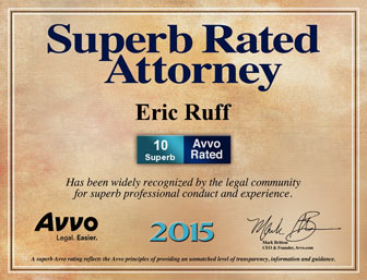 Graphic of Avvo awards Eric S. Ruff perfect  10.0 Superb Rated Attorney