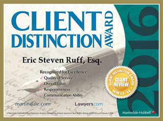 Eric Steven Ruff 2016 Client Distinction Award for Gainesville Bankruptcy Attorney